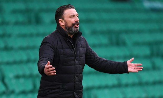 Aberdeen Manager Derek McInnes during the 1-0 defeat at Celtic.