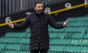 Aberdeen manager Derek McInnes at Parkhead on Saturday.
