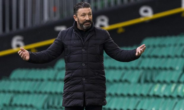 Aberdeen manager Derek McInnes at Parkhead on Saturday.
