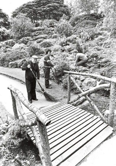 1981: The men who keep the place in condition (left to right): Fred Bushby, park attendant; Stewart Angus, gardener, and Paul Summers, apprentice gardener.