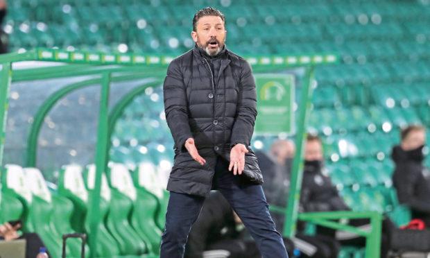 Aberdeen boss Derek McInnes at Celtic Park during the 1-0 defeat.