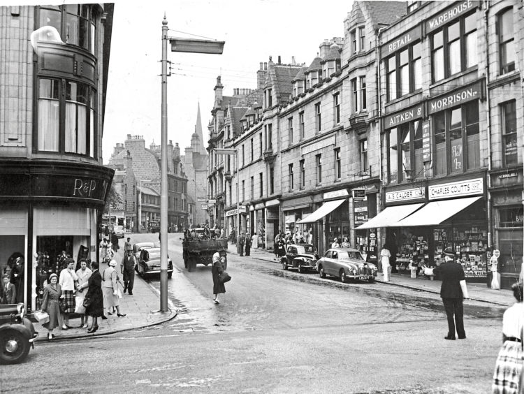 1959: The junction of St Nicholas Street and Schoolhill with a policeman on point duty in 1959.