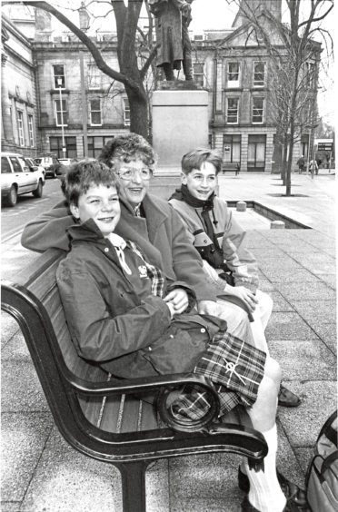 1992: Joe Stead (left) and his mum Irene with Jamie Stewart enjoy the view from one of the benches in the pocket park at Schoolhill.