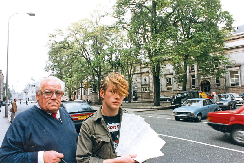 1991: Mr George McKie, porter at RGIT Students Union, Aberdeen, and Mr Daniel Emery, with their petition against the cutting down of the trees in Schoolhill.