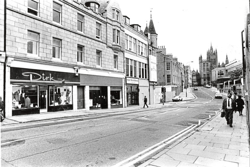 1989: Looking towards Marischal College from Schoolhill, one of Aberdeens most popular shopping areas.