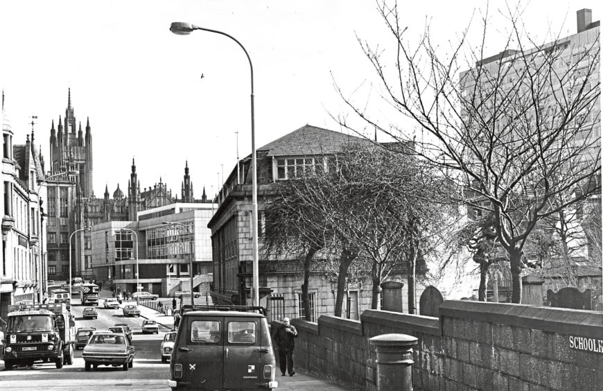 1976: Marischal College, Aberdeens elegant university building is seen at the top of Upper Kirkgate on the right.