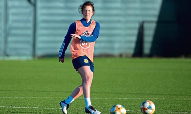 Rachel Corsie in training with Scotland.