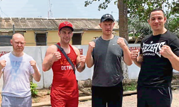 Aberdeen boxer Lee McAllister is set to fight in Ghana. Left to right, Kenny Allan, McAllister, Craig Dick and Danny McIntosh.