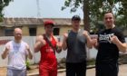 Lee McAllister set to fight in Ghana. Left to right - Kenny Allan, Lee McAllister, Craig Dick and Danny McIntosh.