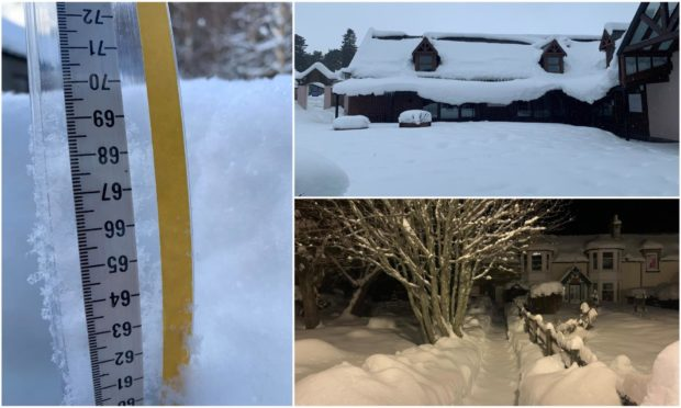 A measurement of 70cm of snow has been taken in Braemar - believed to have broken the record for snowfall in the area