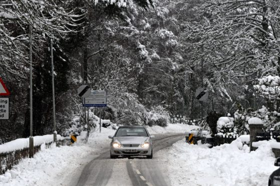 Snow in Dinnet, Aberdeenshire, yesterday. Picture by Kenny Elrick