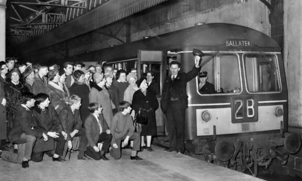 A large crowd at Aberdeen's Joint Station gets ready to board the last train to Ballater on Saturday, February 26 1966.