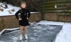 Adonia on her homemade ice rink. Picture by Darrell Benns