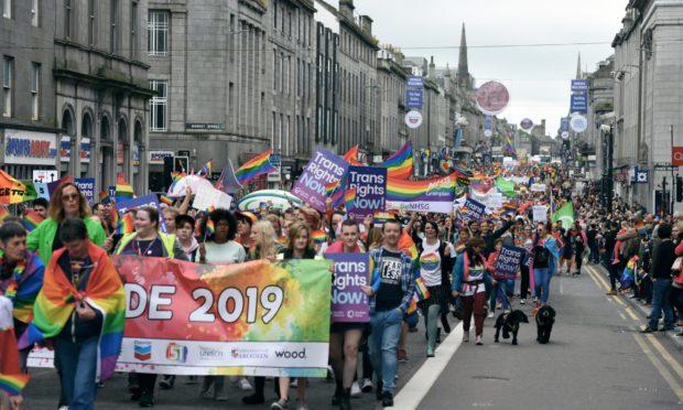 The 2019 Grampian Pride parade on Union Street.