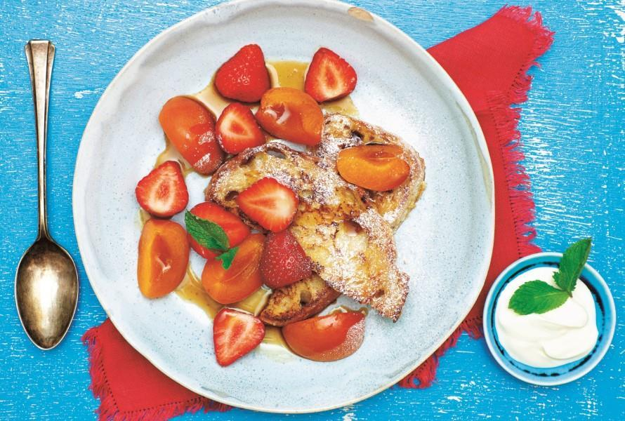 French Toast With Poached Apricots And Strawberries