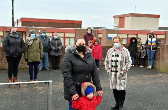 Gillian Ritchie and Margaret Morgan right joined by others trying to save Meethill Primary in Peterhead.
