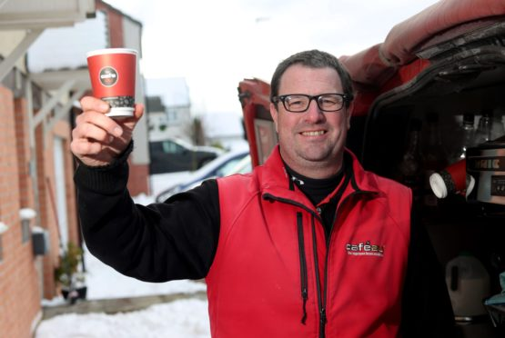 Pictured is Alan Fulton, who serves a variety of delicious coffees and treats from his Cafe2U van in Aberdeen