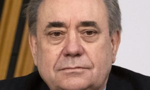 Former first minister Alex Salmond prepares to give his opening statement to the committee.