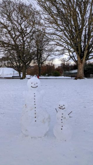 Families have made the most of a snowy Duthie Park