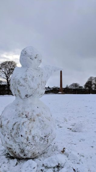 The snowmen began to appear on Monday