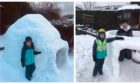 Ross Campbell has built an igloo for his son.