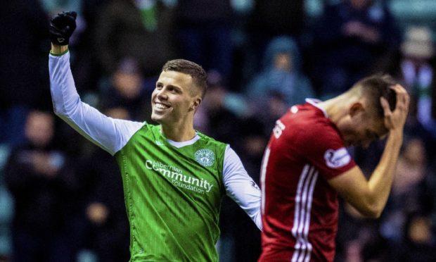 Florian Kamberi celebrates scoring for Hibernian against Aberdeen.