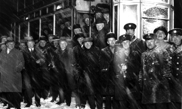 Last tram from Torry in the midst of a blizzard on 28 February 1931.