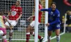 Sam Kerr celebrates scoring in the Continental Tyre League Cup Final for Chelsea.