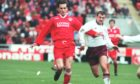 Stephen Glass playing his last home game before leaving Aberdeen for Newcastle.