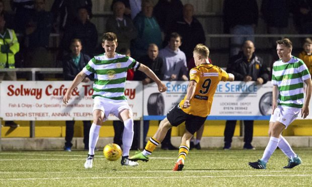 Celtic's colt side in action against Annan Athletic in the Challenge Cup.