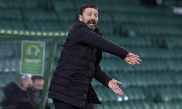 Aberdeen manager Derek McInnes during the 1-0 defeat to Celtic.