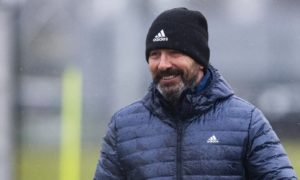 Aberdeen manager Derek McInnes during a training session at Cormack Park.