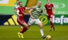 Celtic captian Scott Brown in action against Aberdeen.