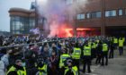 Rangers supporters and police outside Ibrox