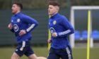 Kevin Nisbet, right, in Scotland training