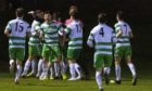 The Buckie Thistle players celebrate Callum Murray's goal against Inverness.