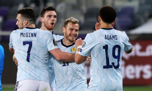 Scotland's Ryan Christie (centre) celebrates his goal during a World Cup qualifier against Israel.