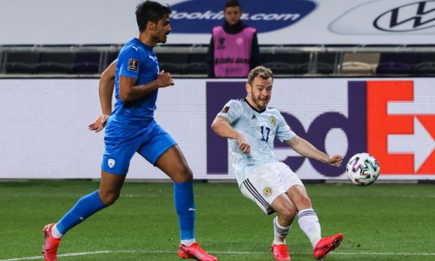 Scotland's Ryan Fraser (right) competes with Dor Peretz of Israel.