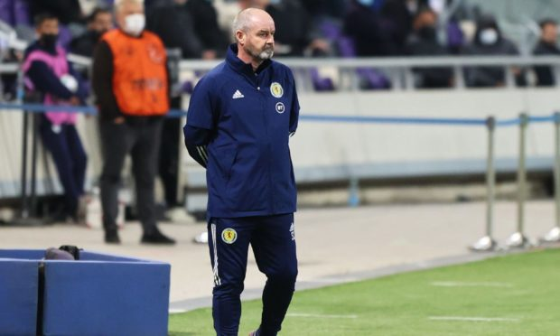 Scotland manager Steve Clarke during a World Cup Qualifier between Israel and Scotland at Bloomfield Stradium,