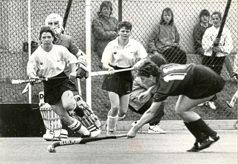 1990: Anxious moment in the Scots goalmouth as Aberdeen trio (from left to right) Margery Coutts (captain), goalkeeper Tracey Robb and Sue Fraser watch L. Watkin, Wales, make a shot at goal.