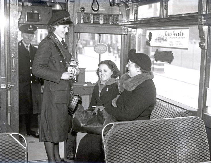 1941: Aberdeen Transport Department: Women conductors and tram drivers. Picture taken in April 1941.