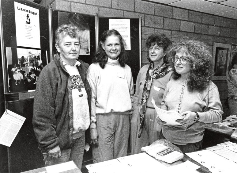 1991: Organisers of the day together with Aberdeen District Councils Womens Committee Convener, (far left) Yvonne Allan, and (left to right) Nina Robertson, Jackie Leckenby and Reni Milburn.