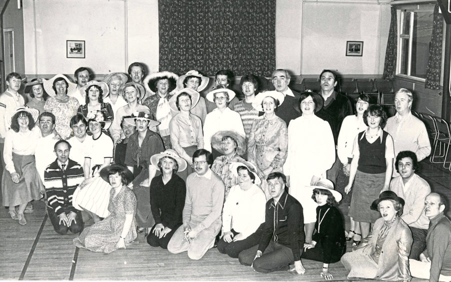 1981: Women members of the Lyric Music Society show off their Easter bonnets in preparation for their performance of Showtime, at the Arts Centre on May 11. All the hats were made by Miss Margaret Robertson (front, fifth right), a millner. The group are hearsing in Holburn West Church Hall, Aberdeen.