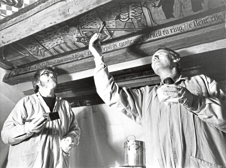 1983: These two men are working to preserve a beautiful and historic piece of North-east heritage. Edinburgh-based conservation experts Mr Albert Cummings (left) and Mr Alexander Colthart are restoring the famous 16th century ceiling paintings at Crathes Castle, near Banchory.  Changes in heat and humidity had been taking their toll of the colourful works which were facing a bleak future at their present rate of deterioration.  But thanks to a donation of about £16,000 from the oil company Chevron (UK) to the National Trust for Scotland who own the building, the artwork can be saved.