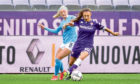 Mandatory Credit: Photo by Lisa Guglielmi/LiveMedia/Shutterstock (11795800h) Martina Zanoli (Fiorentina Femminile) and Chloe Kelly (Manchester City) ACF Fiorentina Femminile v Manchester City Women's FC, UEFA Champions League Women's football match, Florence, Italy - 11 Mar 2021