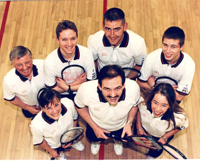 1996: Aberdeen Squash Racquets Club team Scotts completed another successful season by capturing the Grampian League Division 1 championship. The team (back, from left) Ian Buchan, Jonathan Masterton, Craig Thomson, Gregg Waddell, (front) Julie Nicol, Jim Lyon (captain) and Claire Waddell.