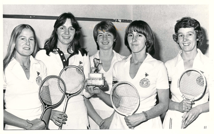 1981: Aberdeen have completed a successful season by winning the Scottish Women's Inter-Regional Squash Cup. They defeated Lothians in the final at Dundee. The Aberdeen players are (left to right) - Sandi Procter, Gail Wiggins, Heather Wisley, Gladys Main and Wilma Paton.