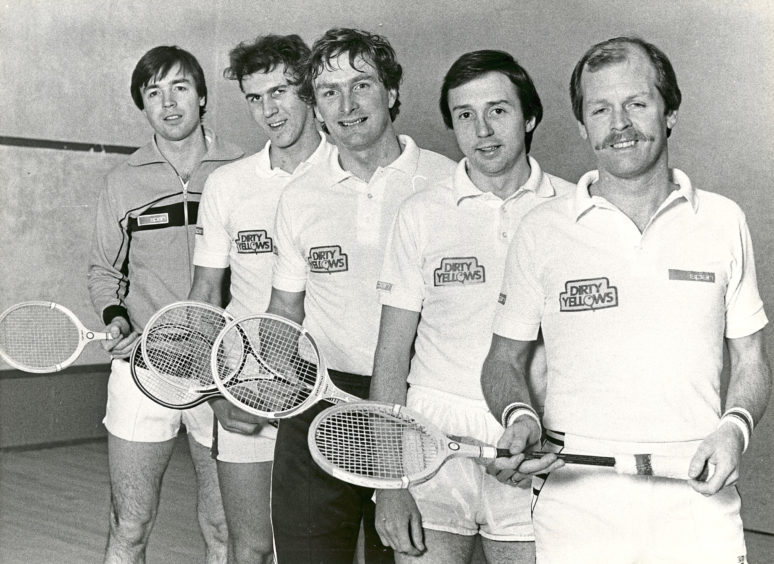1984: The Dirty Yellows team which is currently second in Division 1 of Grampian Squash League. Left to right - Kenneth MacMillan, Alan Nicol, Ian Donald, Derek Kemp, Alan Irvine (capt.).