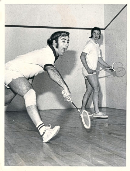 1977: Tony Robinson (left) from Christchurch, New Zealand, pictured in action Sandy Adam an agricultural student from Elgin, at the Butchart squash tournament.