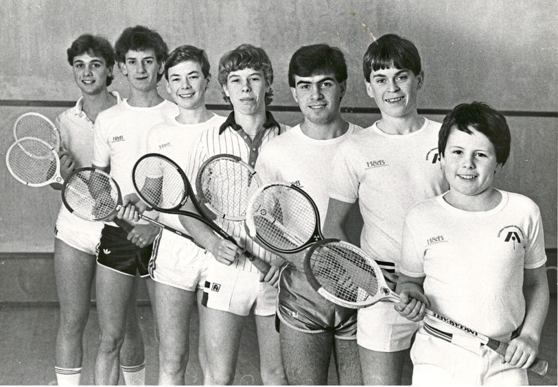 1984: ASRC Junior squash team. Left to right - Philip Reid, Alan Sangster, Richard Irvine, Derek Stroud, John Ireland, David Irvine, Scott Wilson.